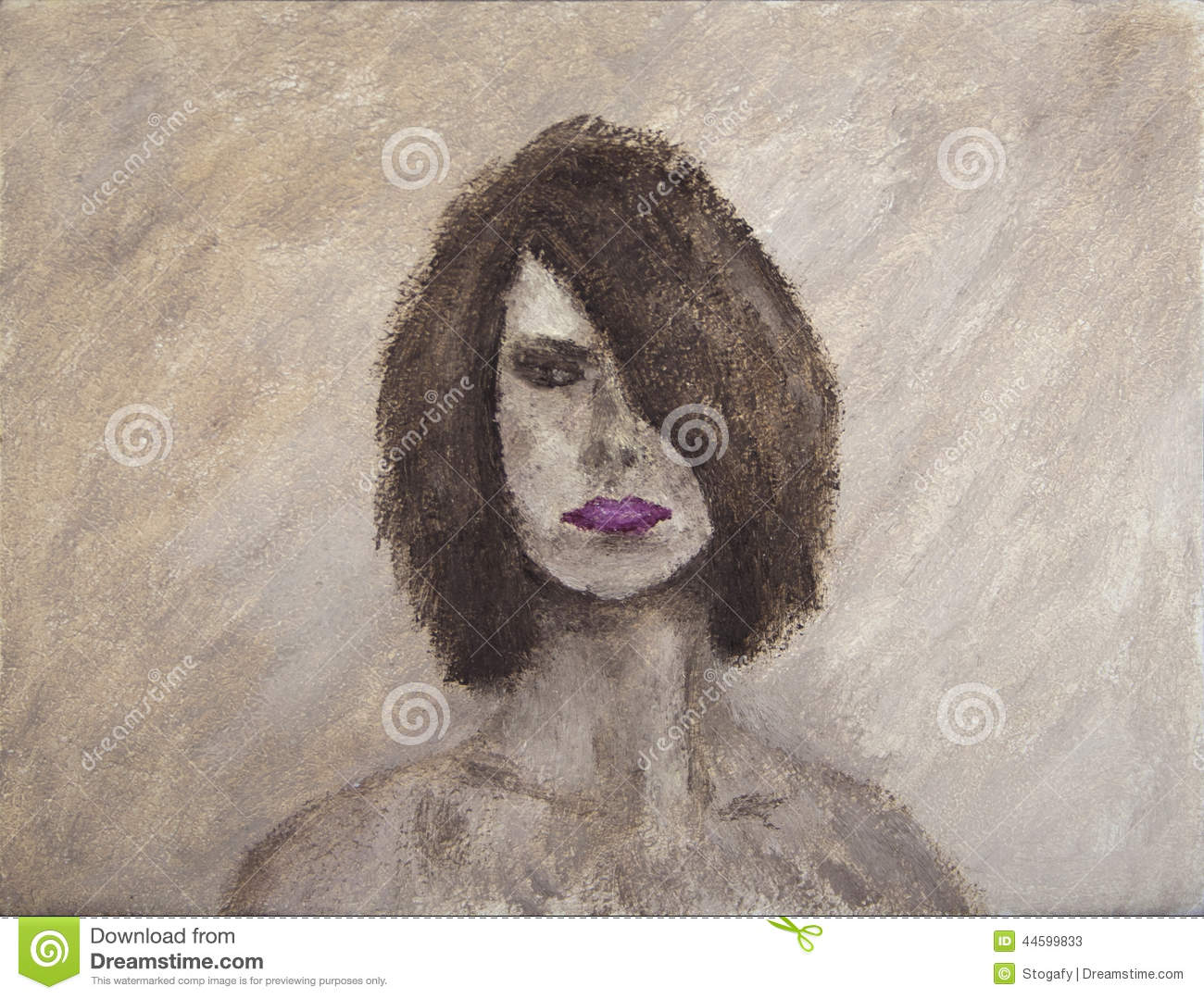 Download Oil Painting Portrait Of A Mystery Woman Stock Image - Image of monotone, hand: 44599833