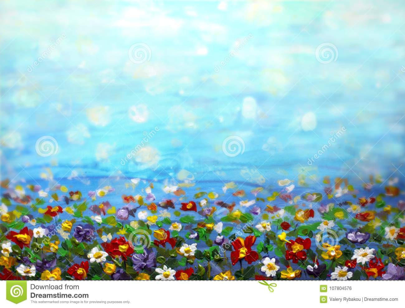 Painting Purple Cosmos Flower White Daisy Cornflower Wildflower Flowers Meadow Green Field Paintings Hand Painted Floral And Stock Photo Image Of Spring Texture 107804576