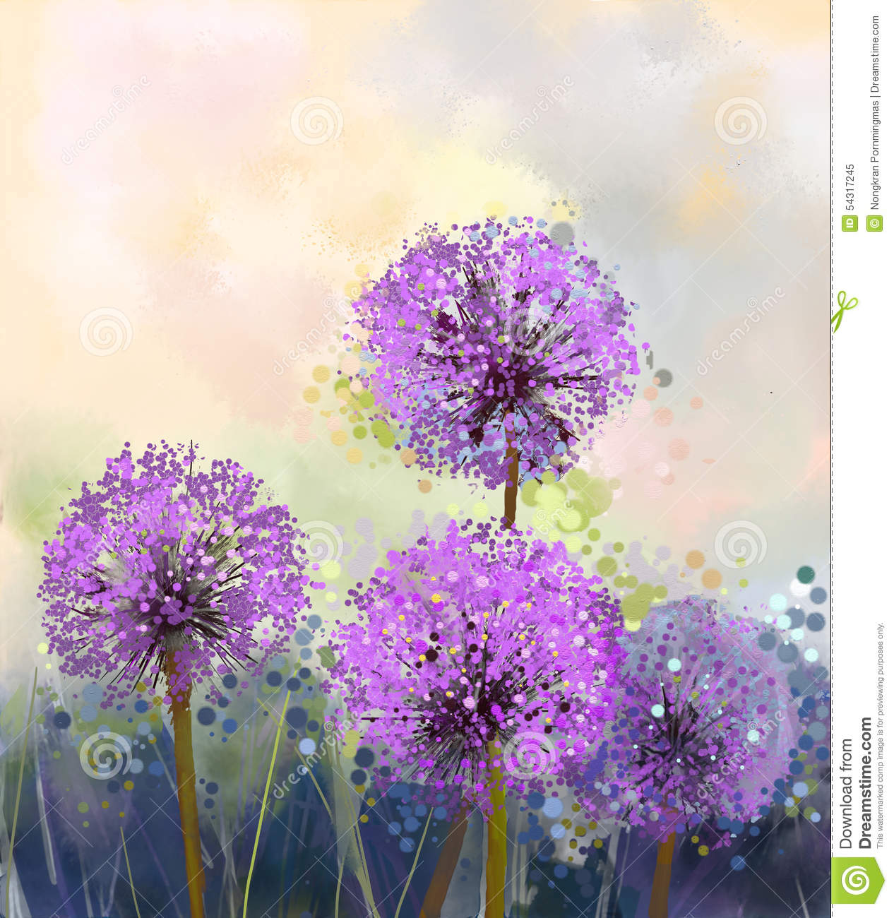 Purple Flower Oil Painting Abstract Wall Art Picture: Oil Painting. Purple Onion Flower Stock Illustration