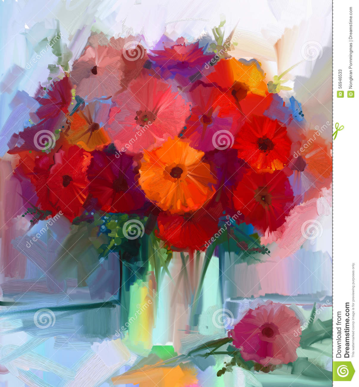 oil painting red gerbera flowers in vase stock illustration image 56946533. Black Bedroom Furniture Sets. Home Design Ideas