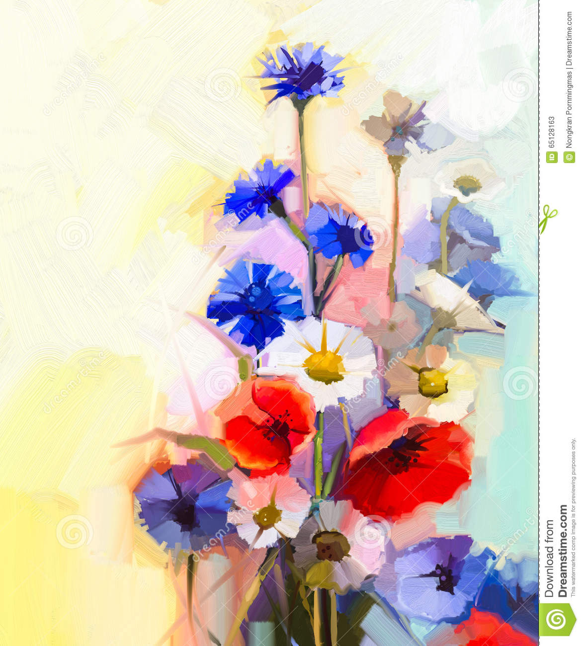 Oil Painting Red Poppy Flowers Blue Cornflower And White Daisy