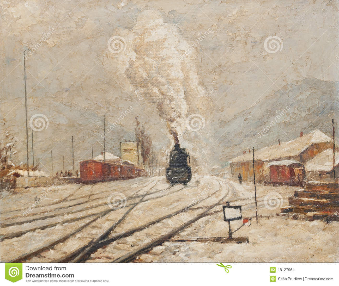 Oil Painting Representing Old Train Station Stock