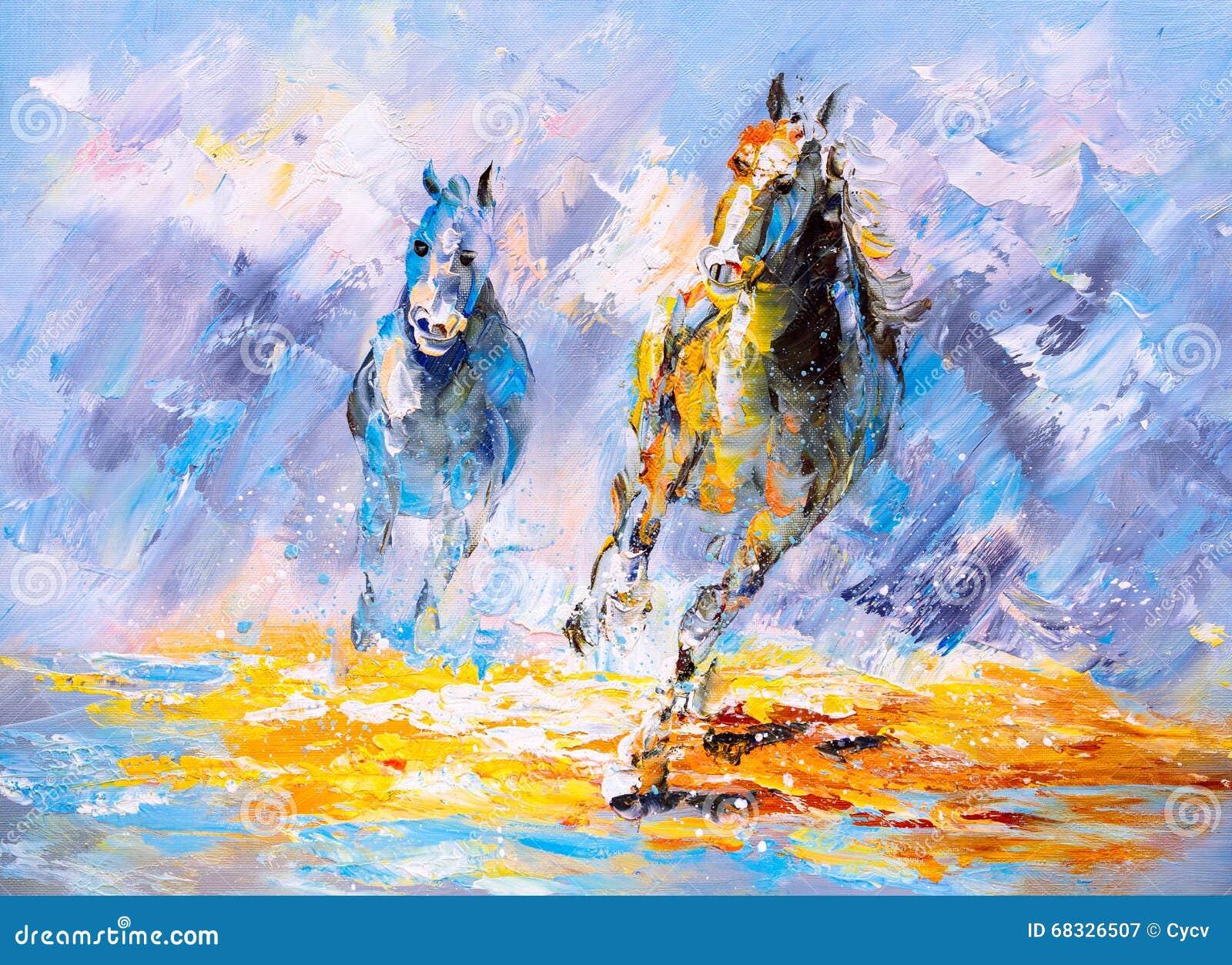 Oil Painting Running Horse Stock Illustration Illustration Of Splash Acrylic 68326507