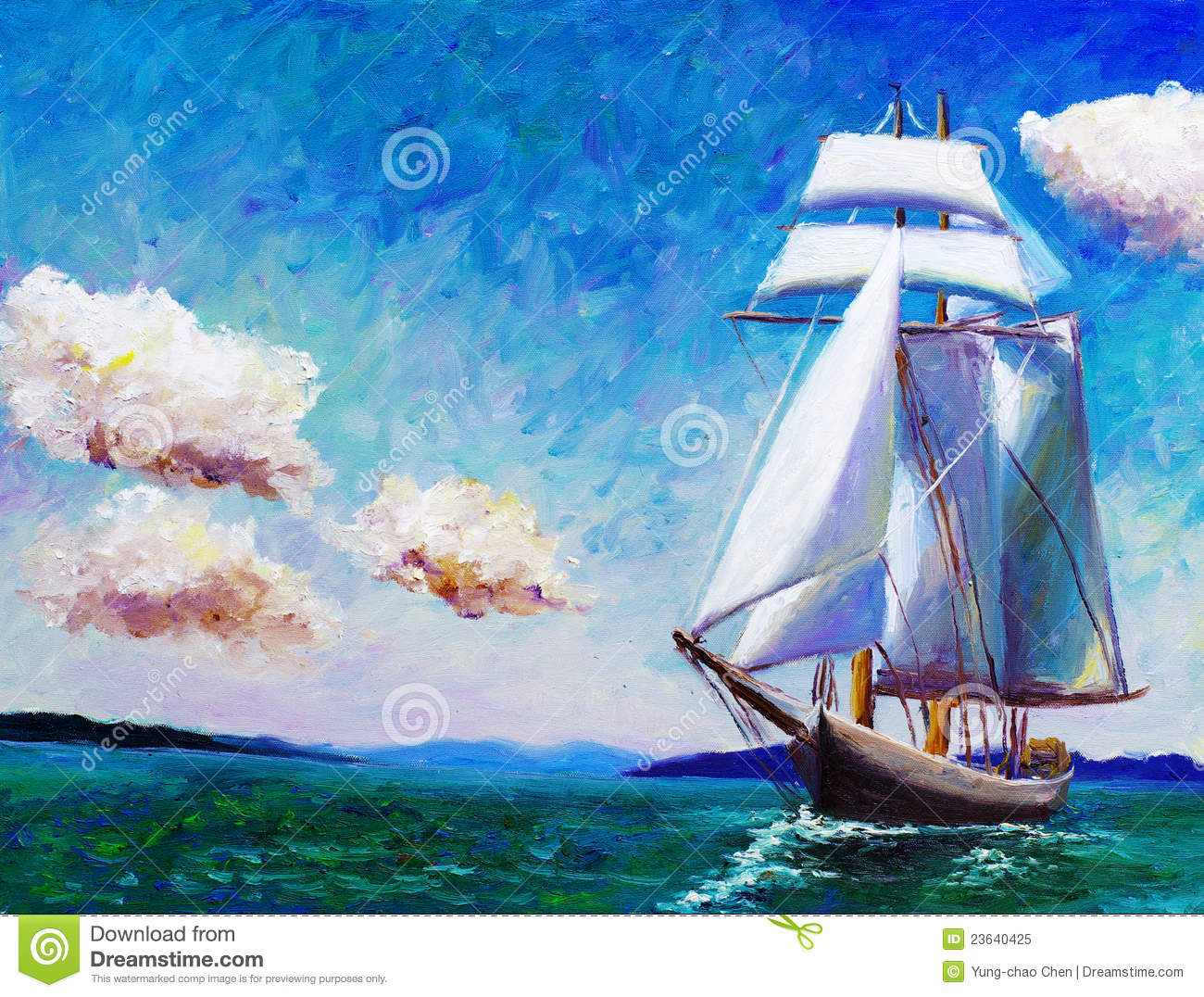 Oil Painting Sailing Boat Royalty Free Stock Photo