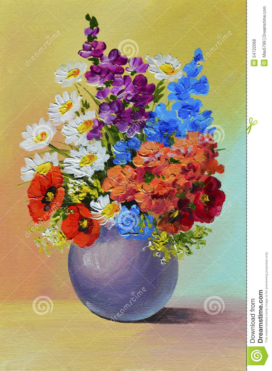 Oil Painting - Still Life, A Bouquet Of Flowers Stock Illustration ...