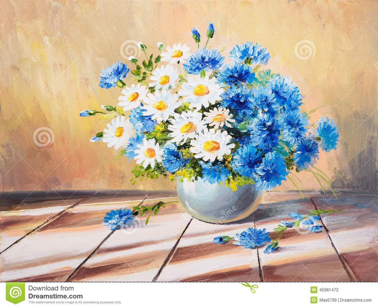 Oil Painting Still Life, Bouquet Of Flowers On A Wooden Table Stock ...