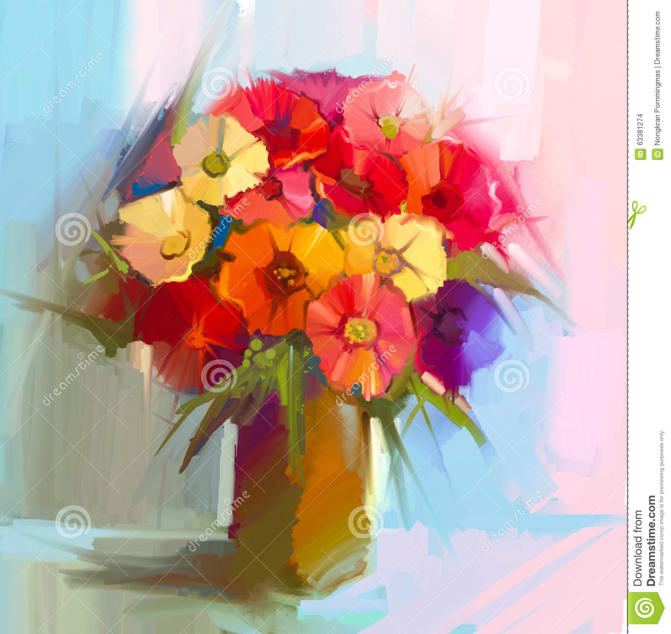Oil Painting Still Life Of Bouquet,yellow,red Color Flora. Gerbera ...