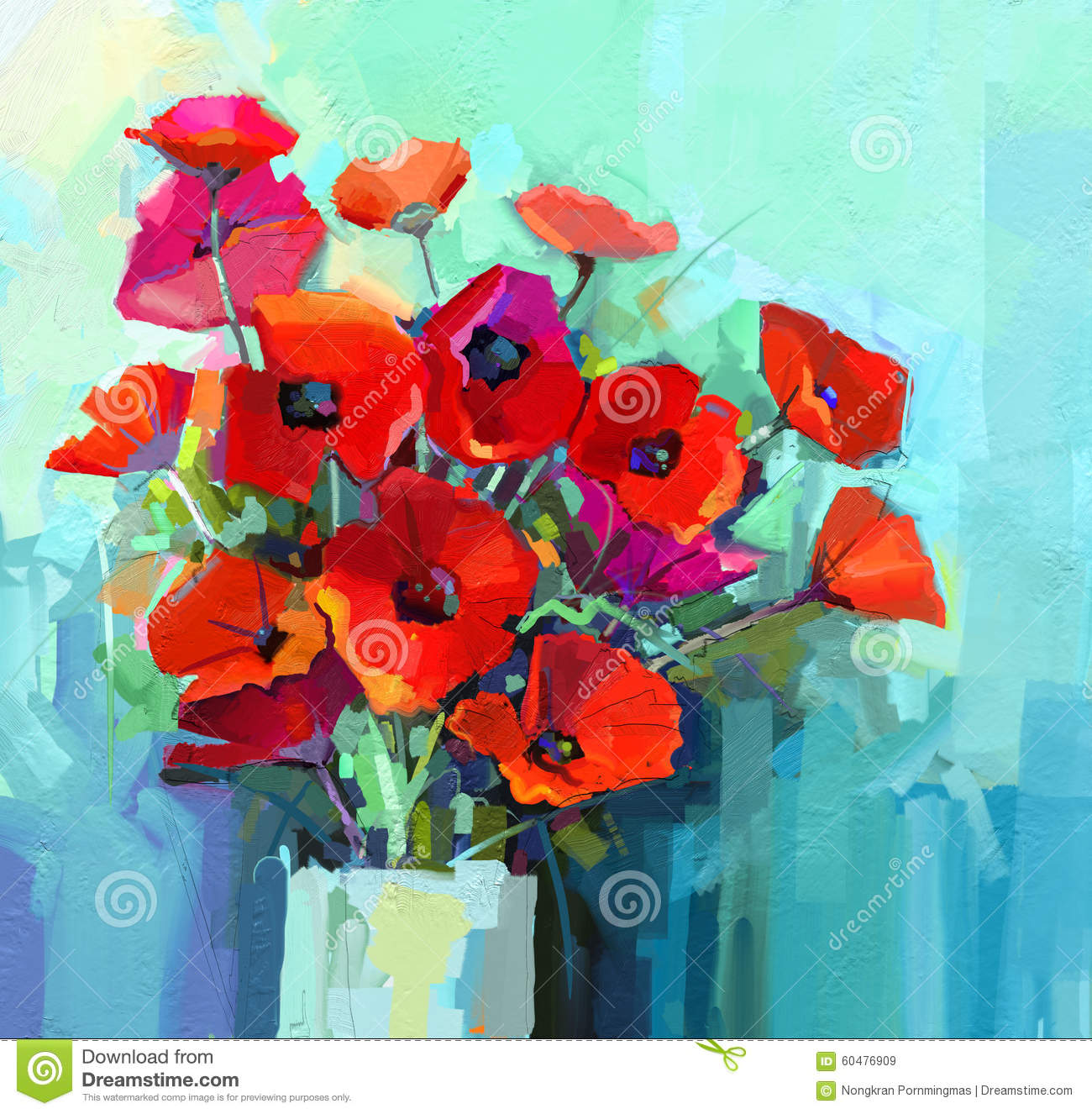Oil painting still life of red and pink color flower colorful oil painting still life of red and pink color flower colorful bouquet of poppy flowers in vase mightylinksfo