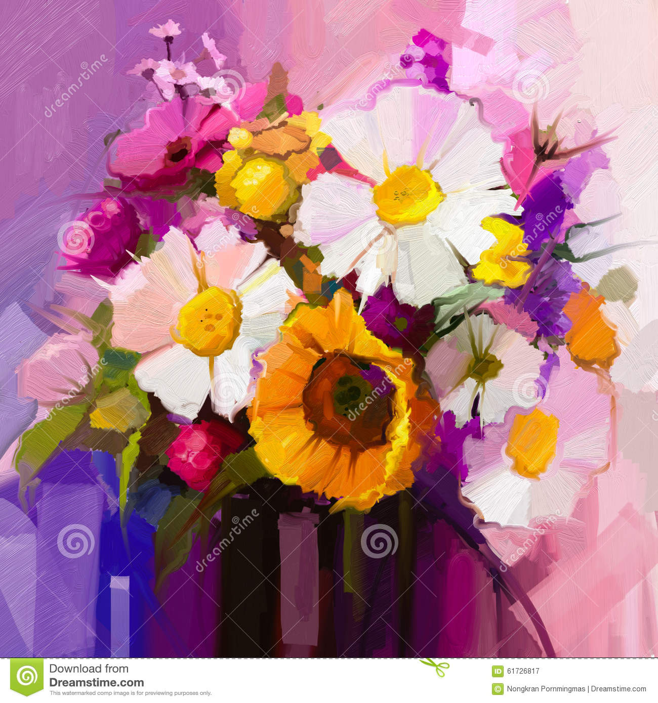 Gerbera Daisy Bouquet Oil Painting Still Lif...