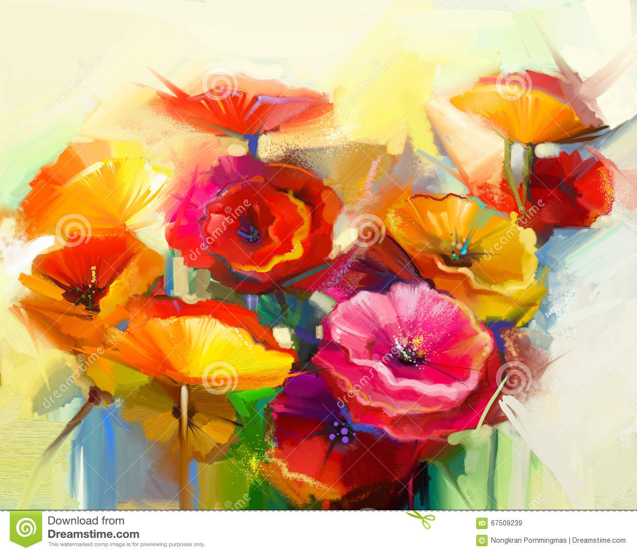 Oil Painting Still Life Of Yellow, Pink And Red Poppy ...