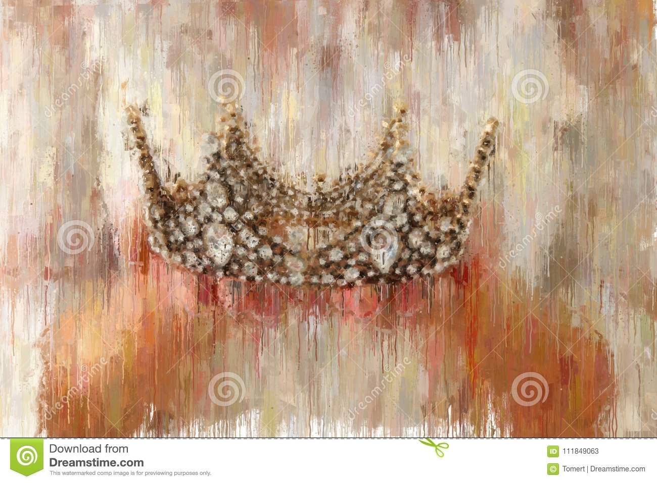 oil painting style abstract image of lady with white dress holding gold crown. fantasy medieval period.