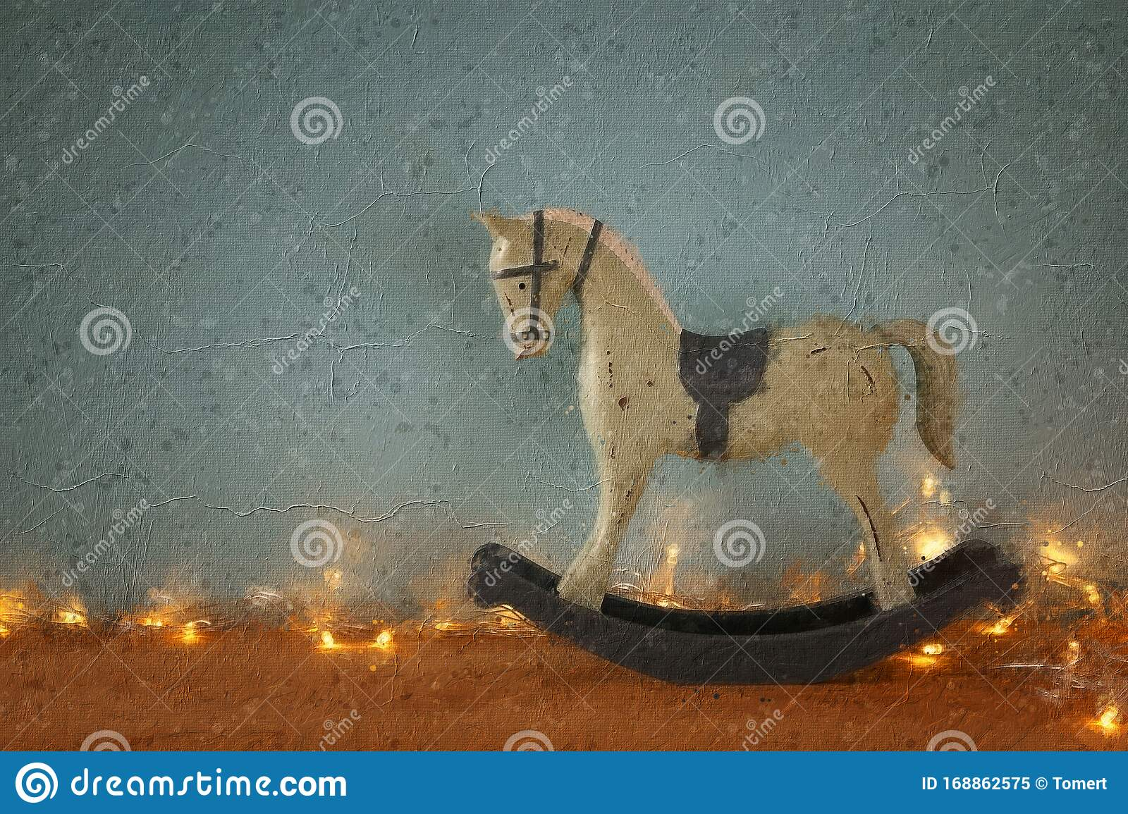 Oil Painting Style Illustration Of Vintage Rocking Horse On Wooden Floor Stock Image Image Of Brush Decoration 168862575