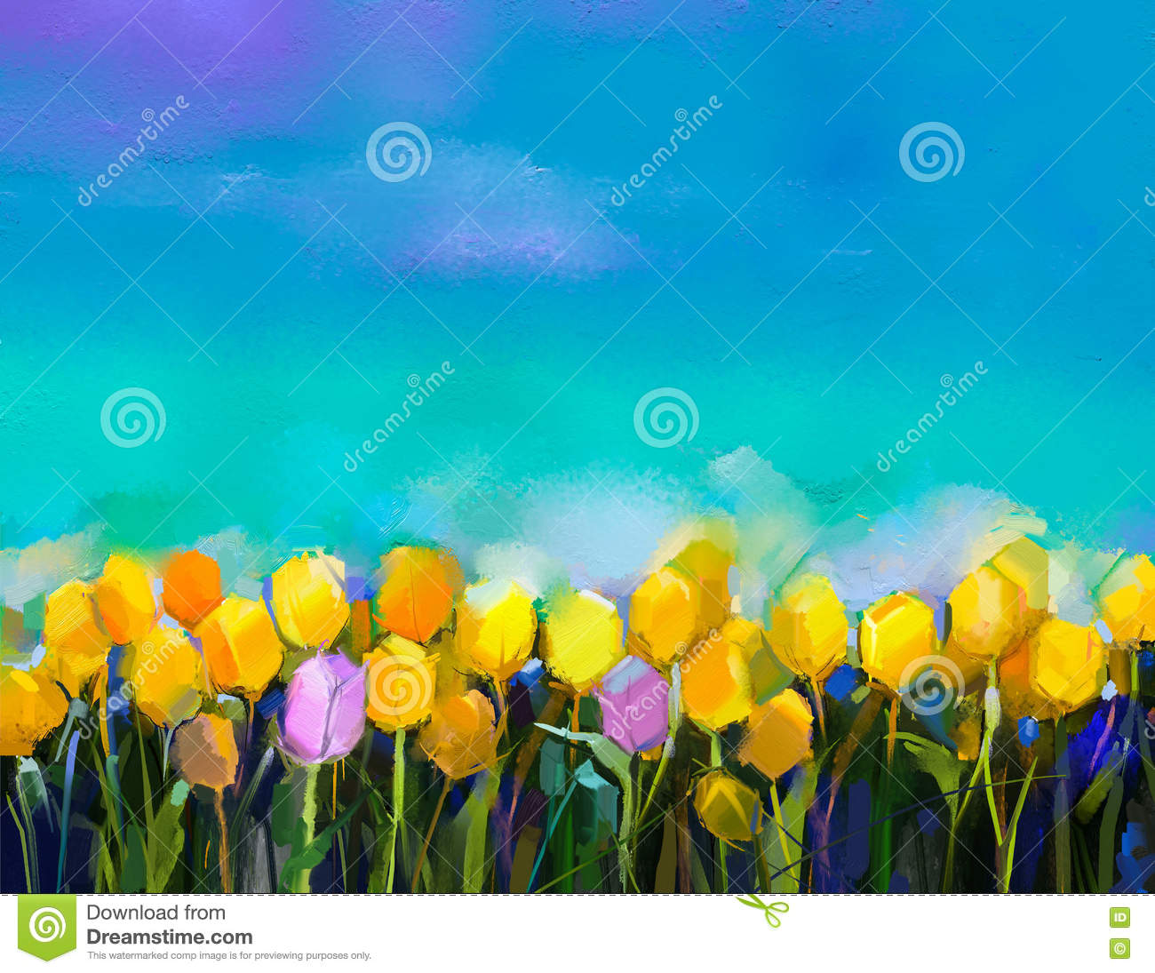 Garden floral seamless pattern on purple background watercolor vector - Oil Painting Tulips Flowers Hand Paint Yellow And Violet