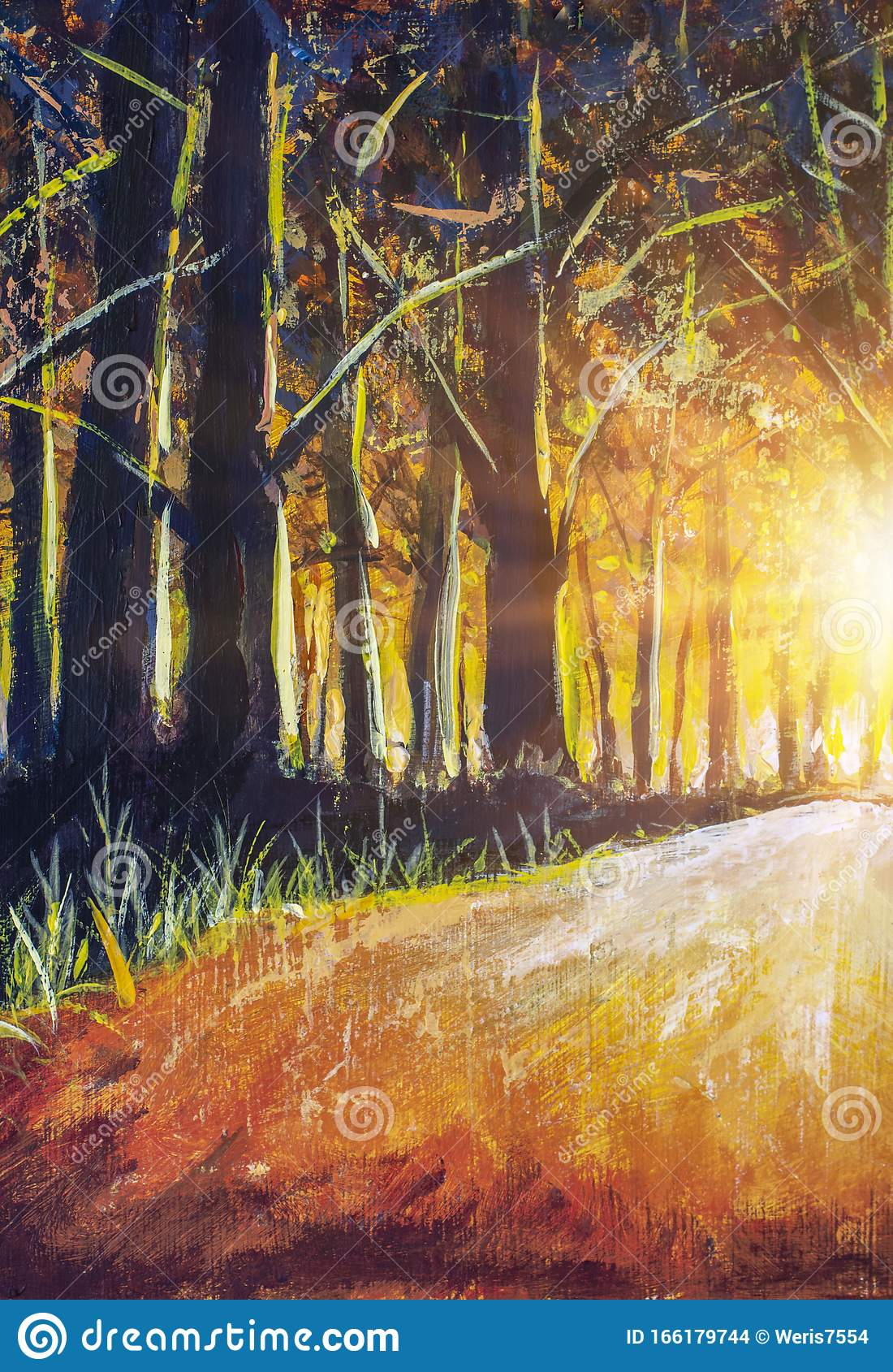 Oil Painting With Watercolor Acrylic Orange Warm Sunrise In Black Forest Black Trees Lit By Hot Sunlight Stock Illustration Illustration Of Fall Branch 166179744