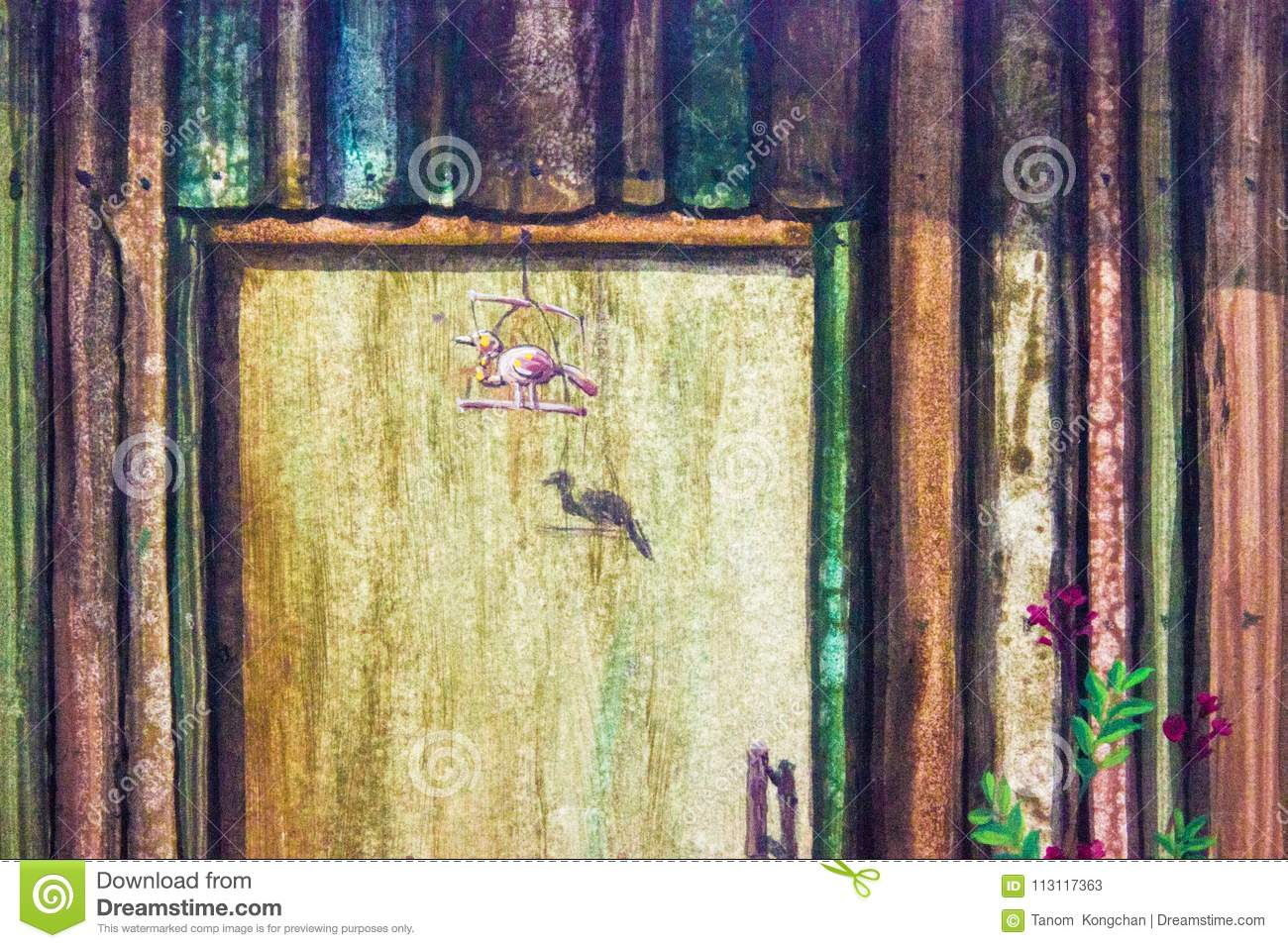 Oil Painting Wood Wall And Bird, Red Flower Stock Illustration ...