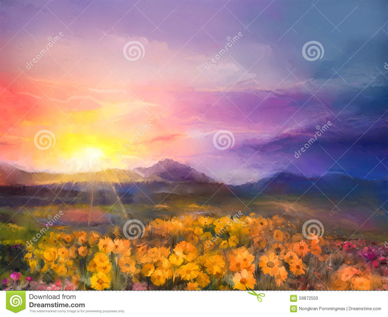 Oil painting yellow- golden daisy flowers in fields. Sunset mead