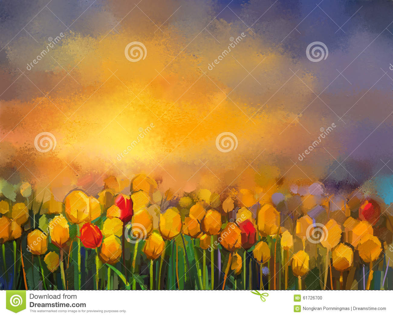 Oil Painting Yellow And Red Tulips Flowers Field At Sunset Stock