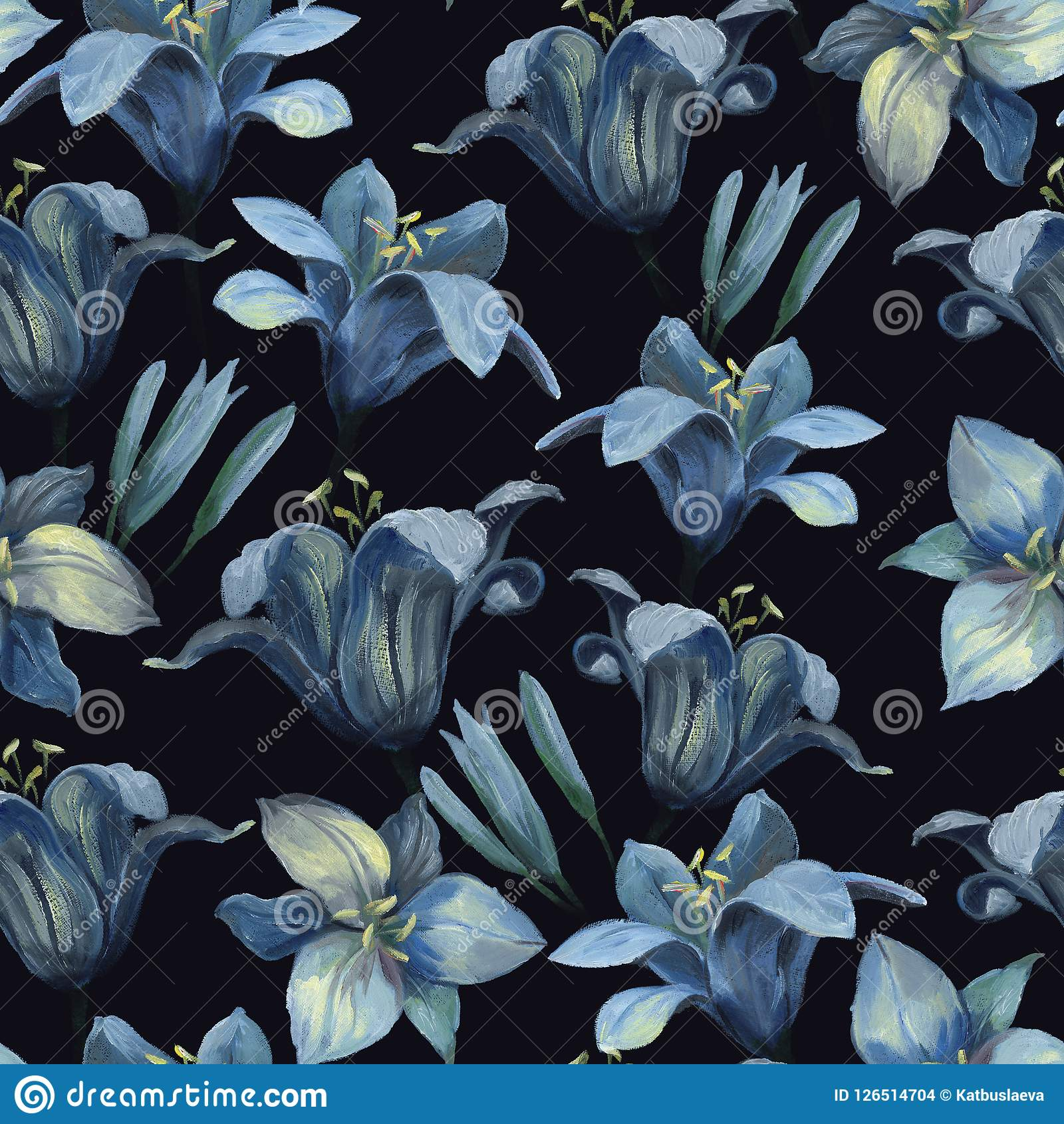 Seamless Pattern Of Different Lily Flowers And Buds On Dark Back