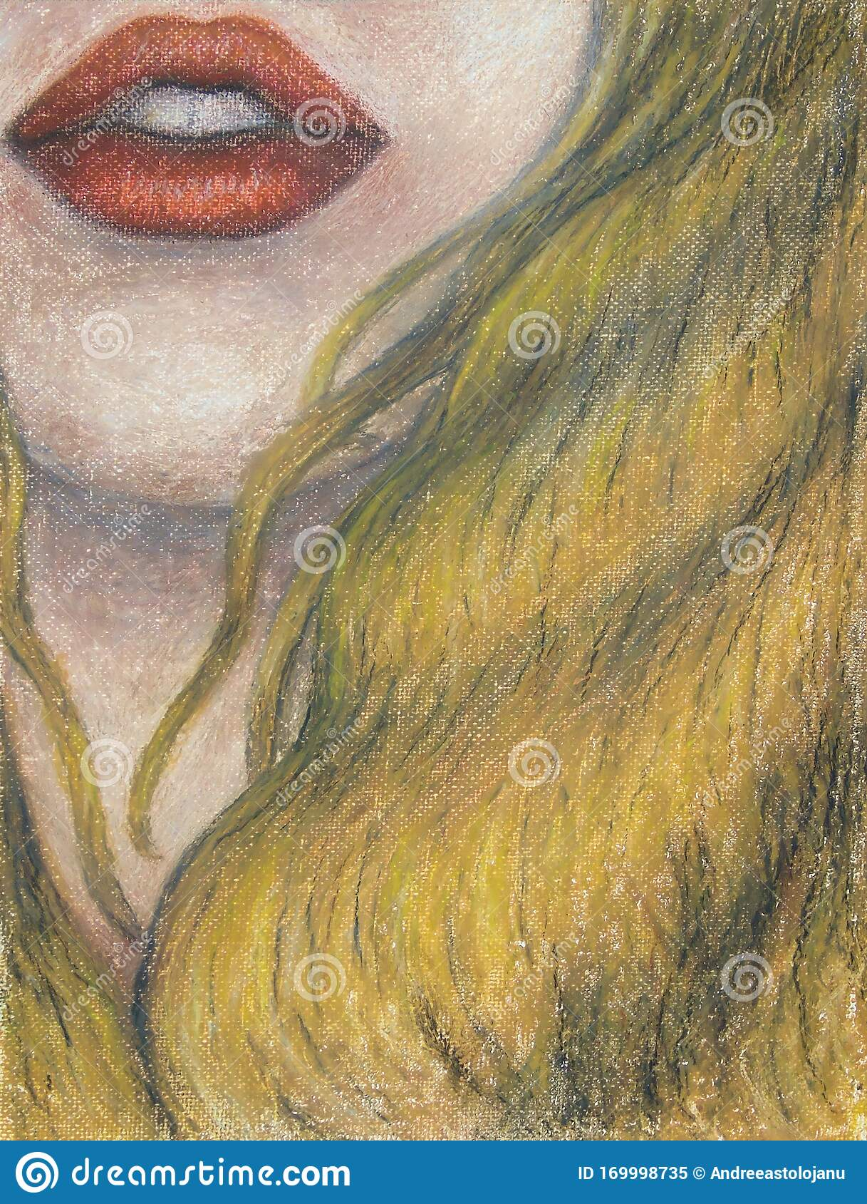 Oil Pastels Painting On Canvas Of Woman With Orange Lips And Long Blond Hair Drawing Of Closeup Of Face Mouth Stock Illustration Illustration Of Face Love 169998735