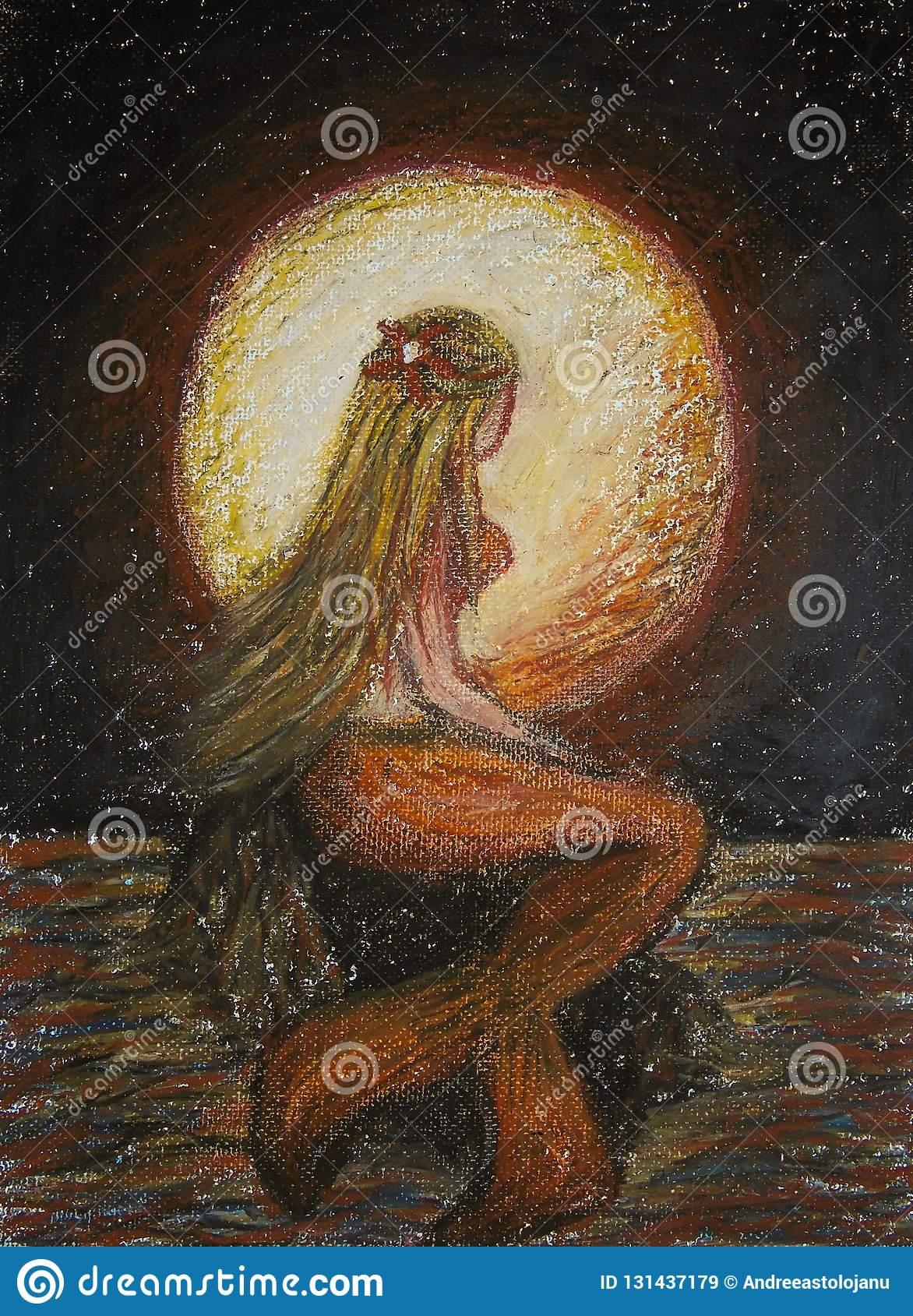 Oil pastels painting on canvas of blonde mermaid standing on a rock in the sea with big red moon on background, fantasy