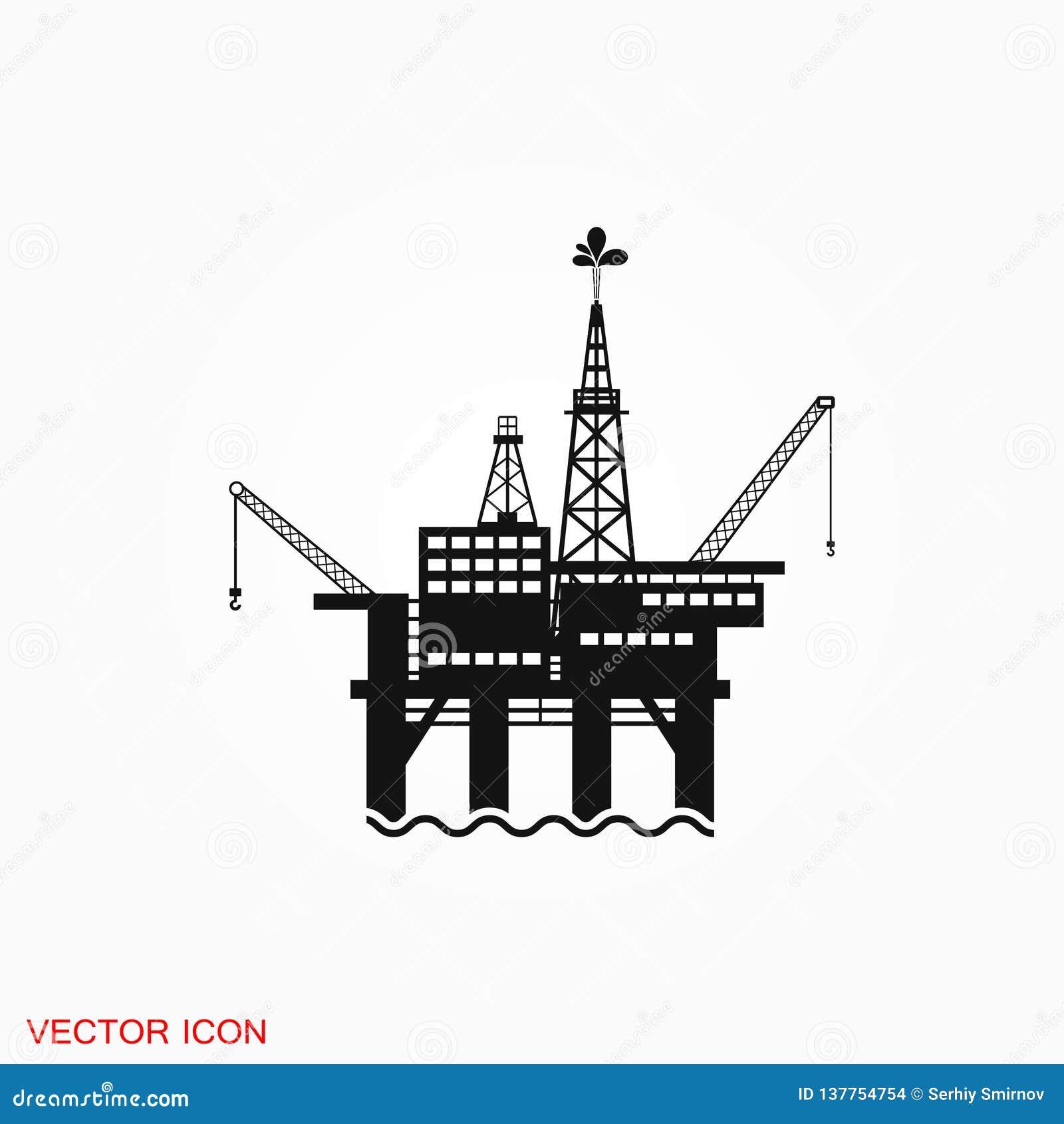 Oil platform iconfuel production logo, illustration, sign symbol for design