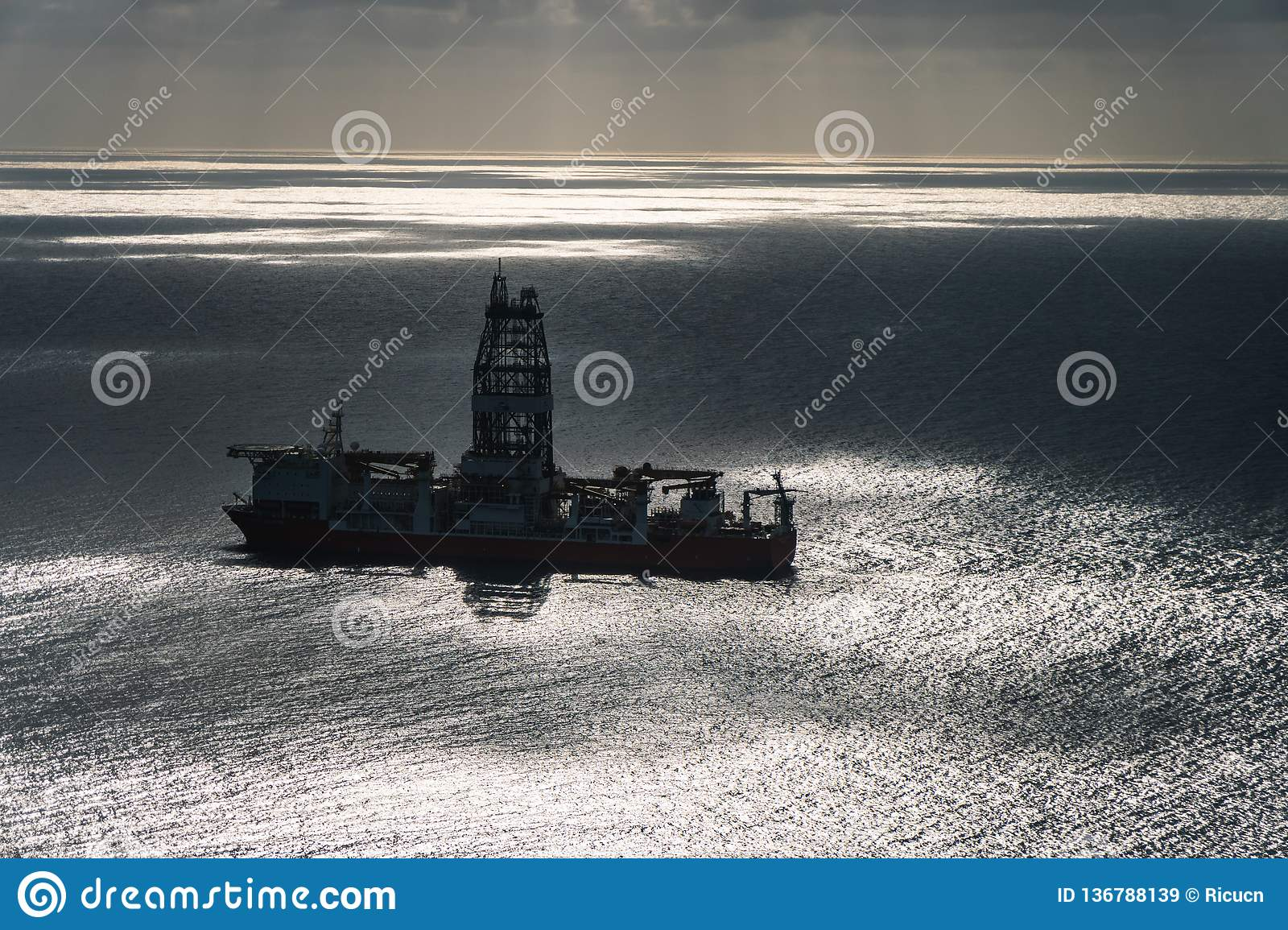 Oil platform in the middle of ocean aereal view
