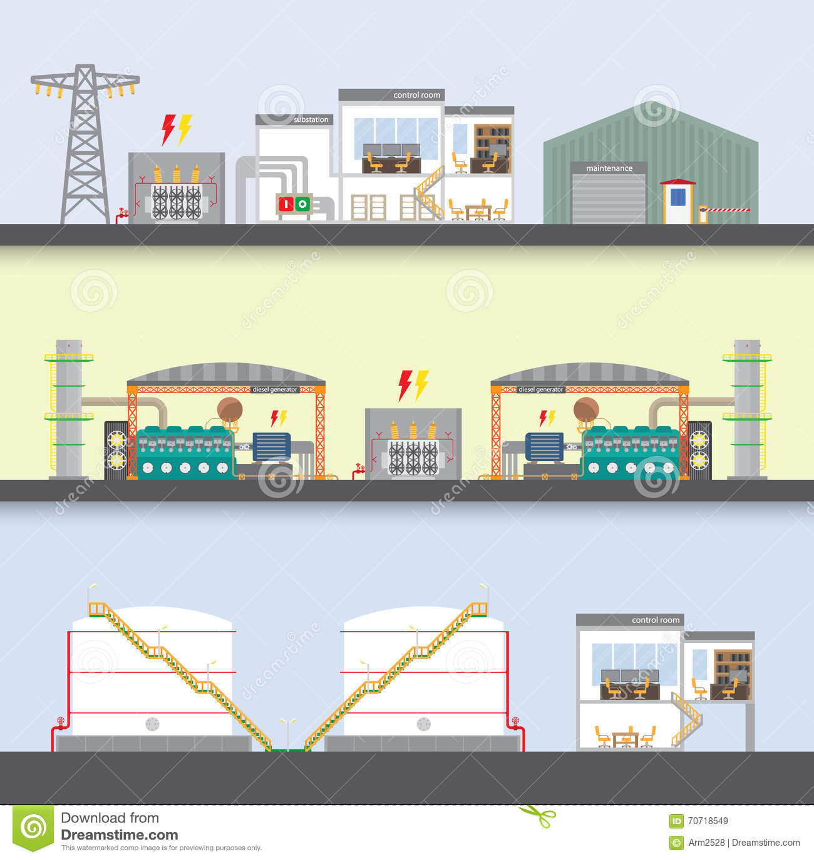 Oil Power Plant Stock Vector Illustration Of Process 70718549 Diesel Flow Diagram Download