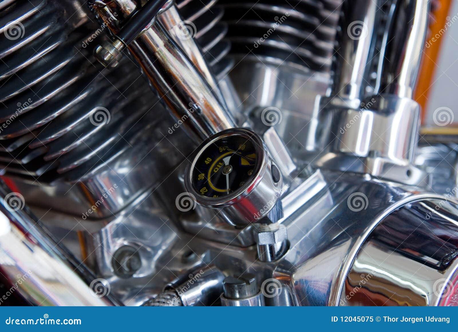 Oil Pressure Gauge On Motorcycle Engine Stock Image