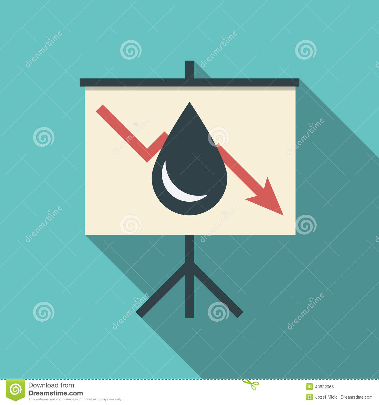 Oil Price Fall Concept Illustration With Black Stock Vector