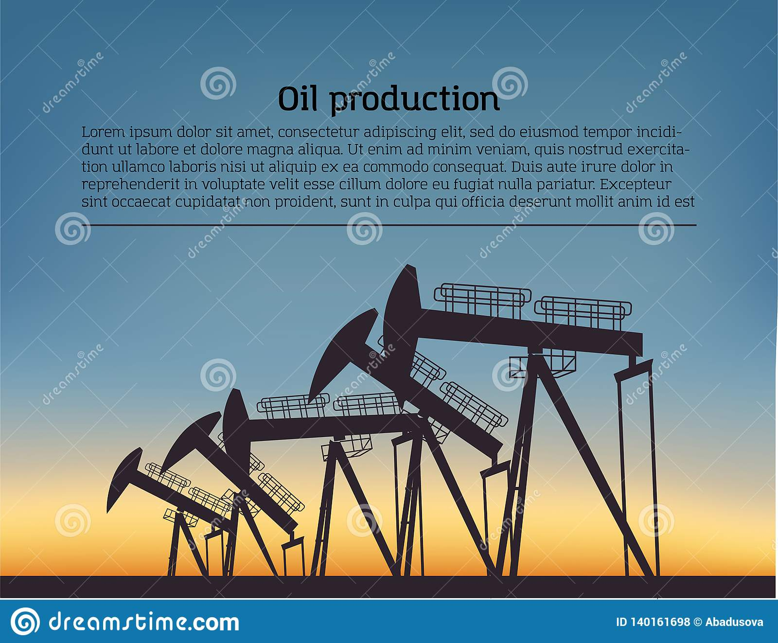 Oil producing Rig silouette. Black pictogram on color background. Vector illustration with text