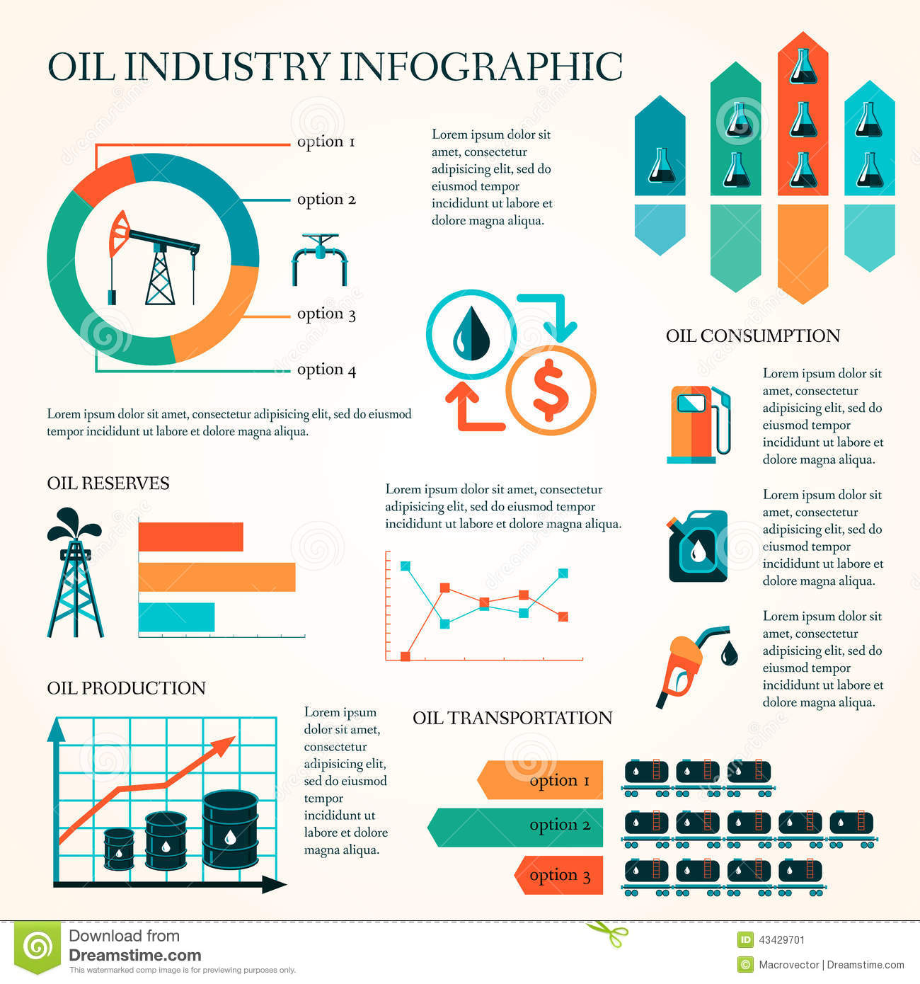 Oil Production Infographics Stock Vector Image 43429701
