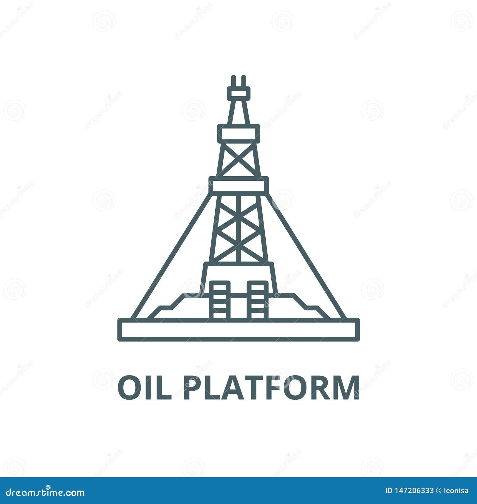 Oil production platform vector line icon, linear concept, outline sign, symbol