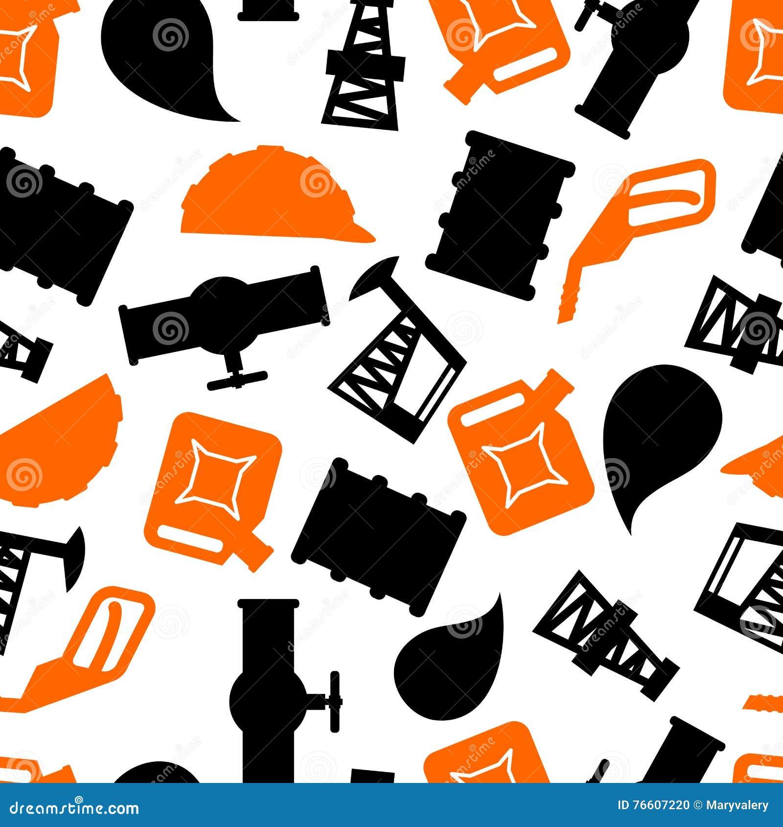 Oil Production Seamless Pattern  Petroleum Industry Symbols