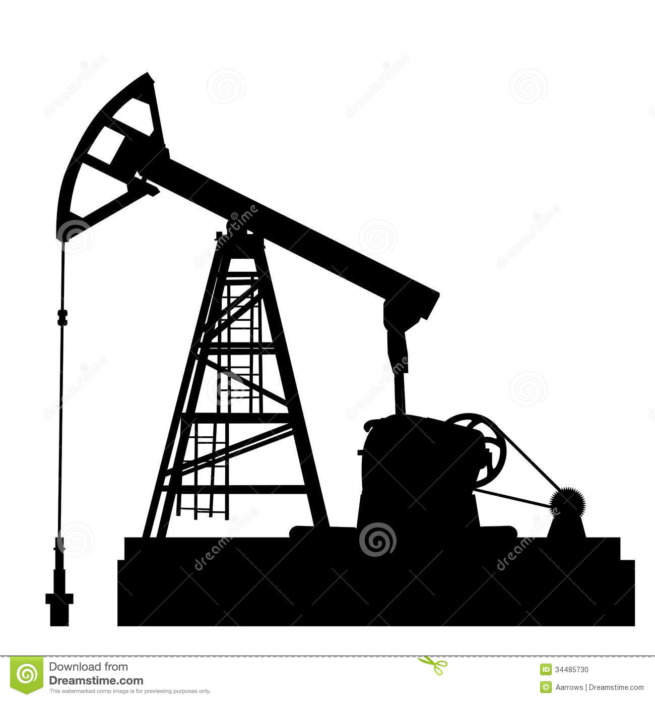 Oil pump jack. Oil industry equipment. Vector illustration.