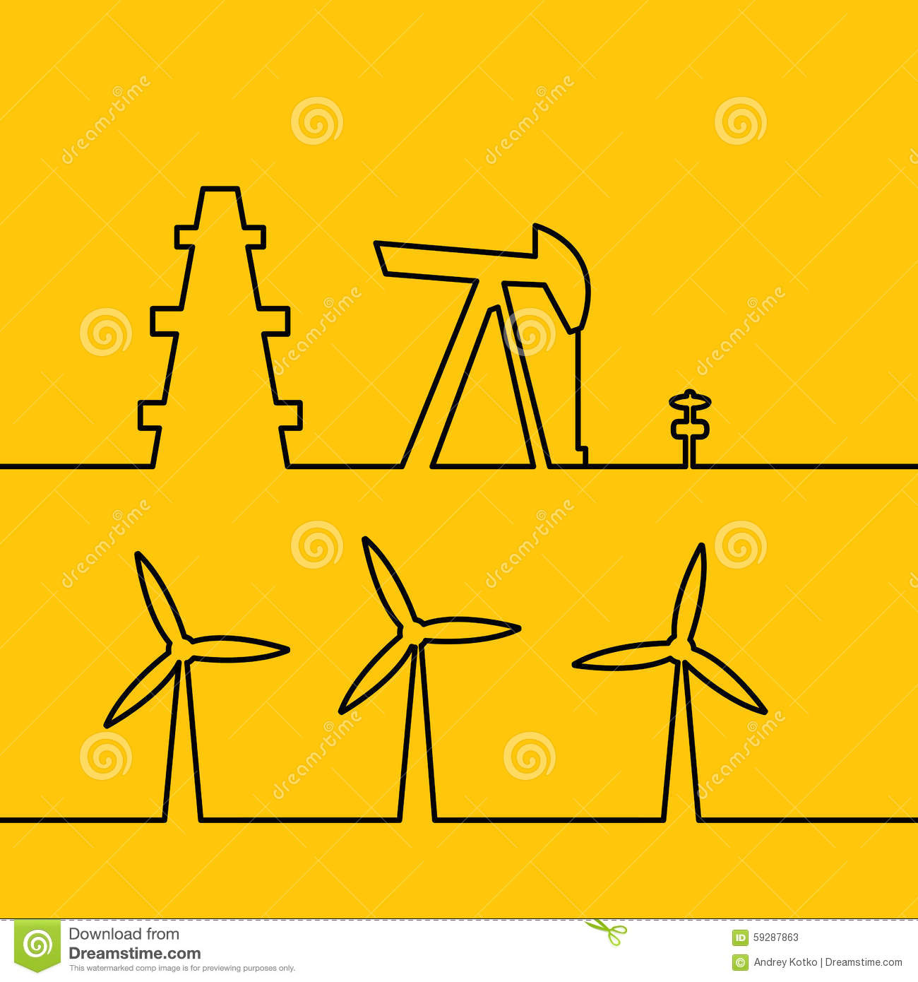 electricity. Wind turbine generate electricity. Energy system works ...