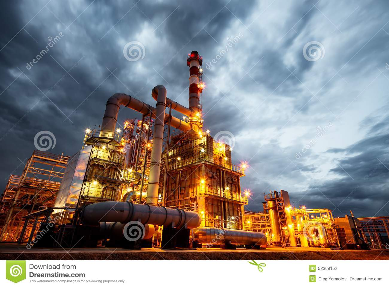 Oil Refinery At evening