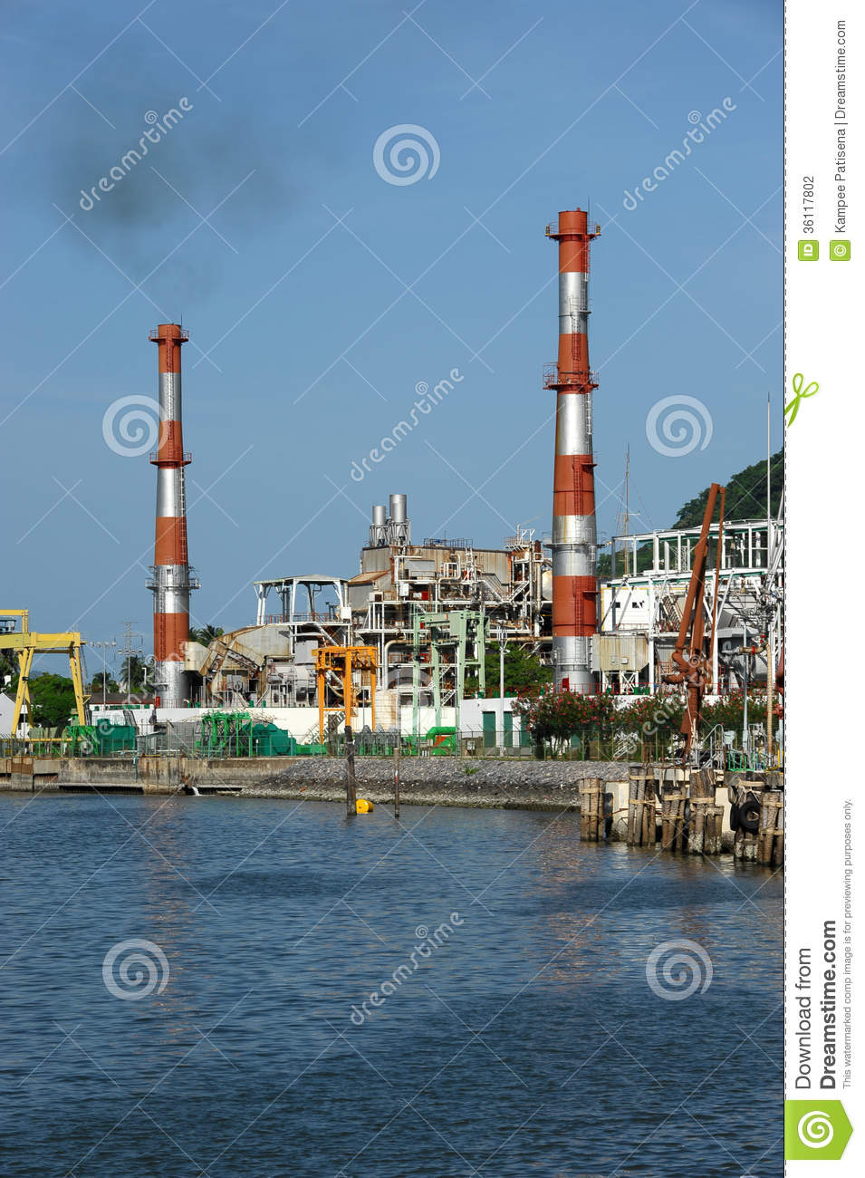 Oil Refinery Factory Near Sea Stock Photography - Image ...
