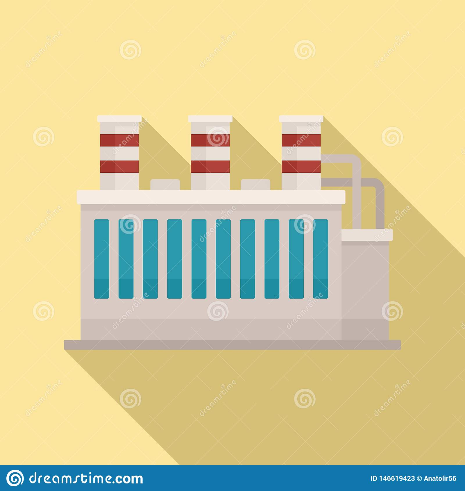 Oil Refinery Plant Icon, Flat Style Stock Vector