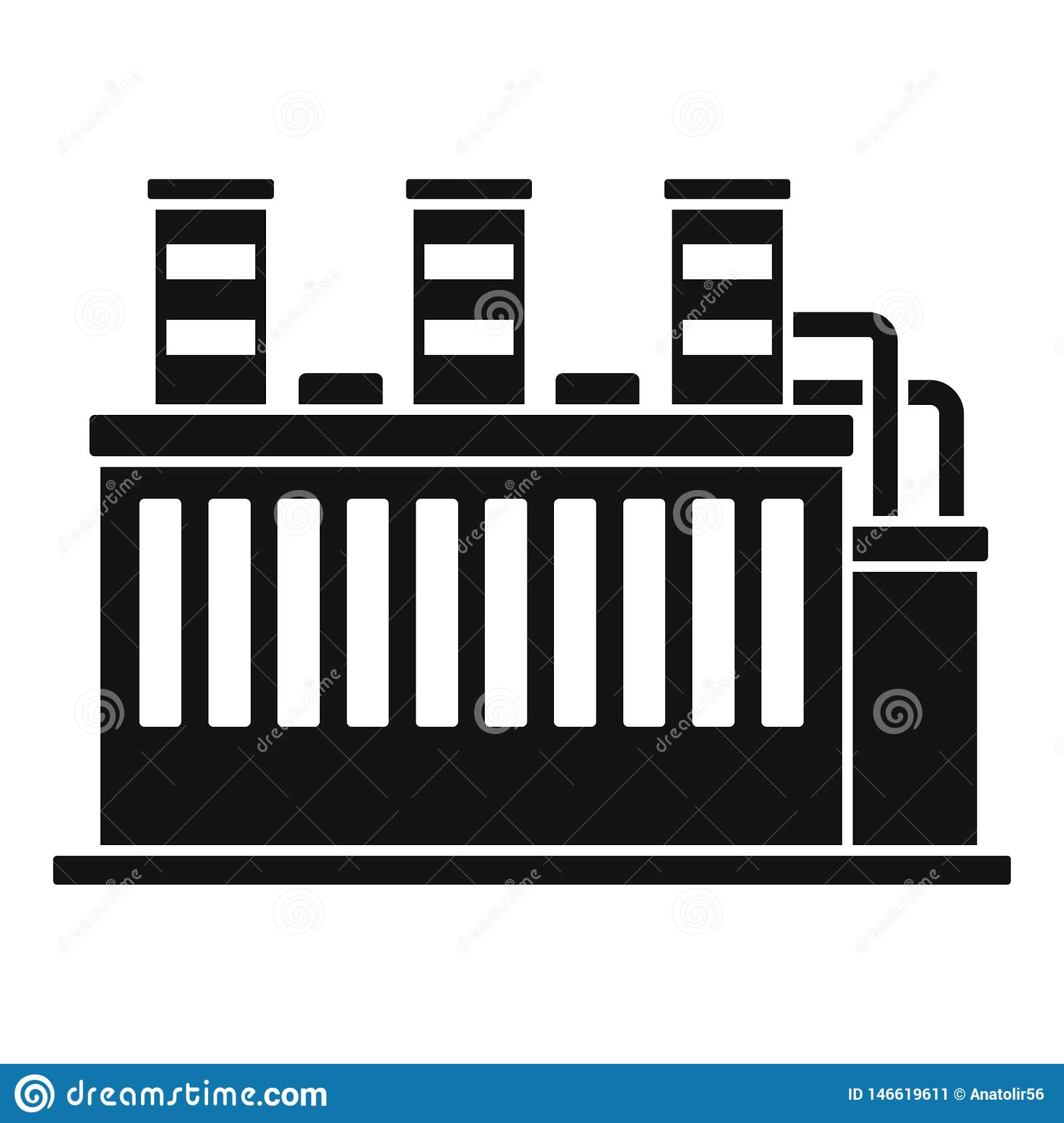 Oil Refinery Plant Icon, Simple Style Stock Vector