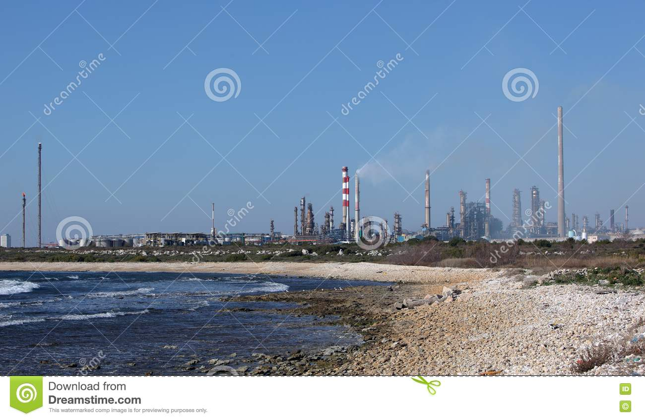 Oil Refinery Plant By The Sea Royalty Free Stock Photos ...