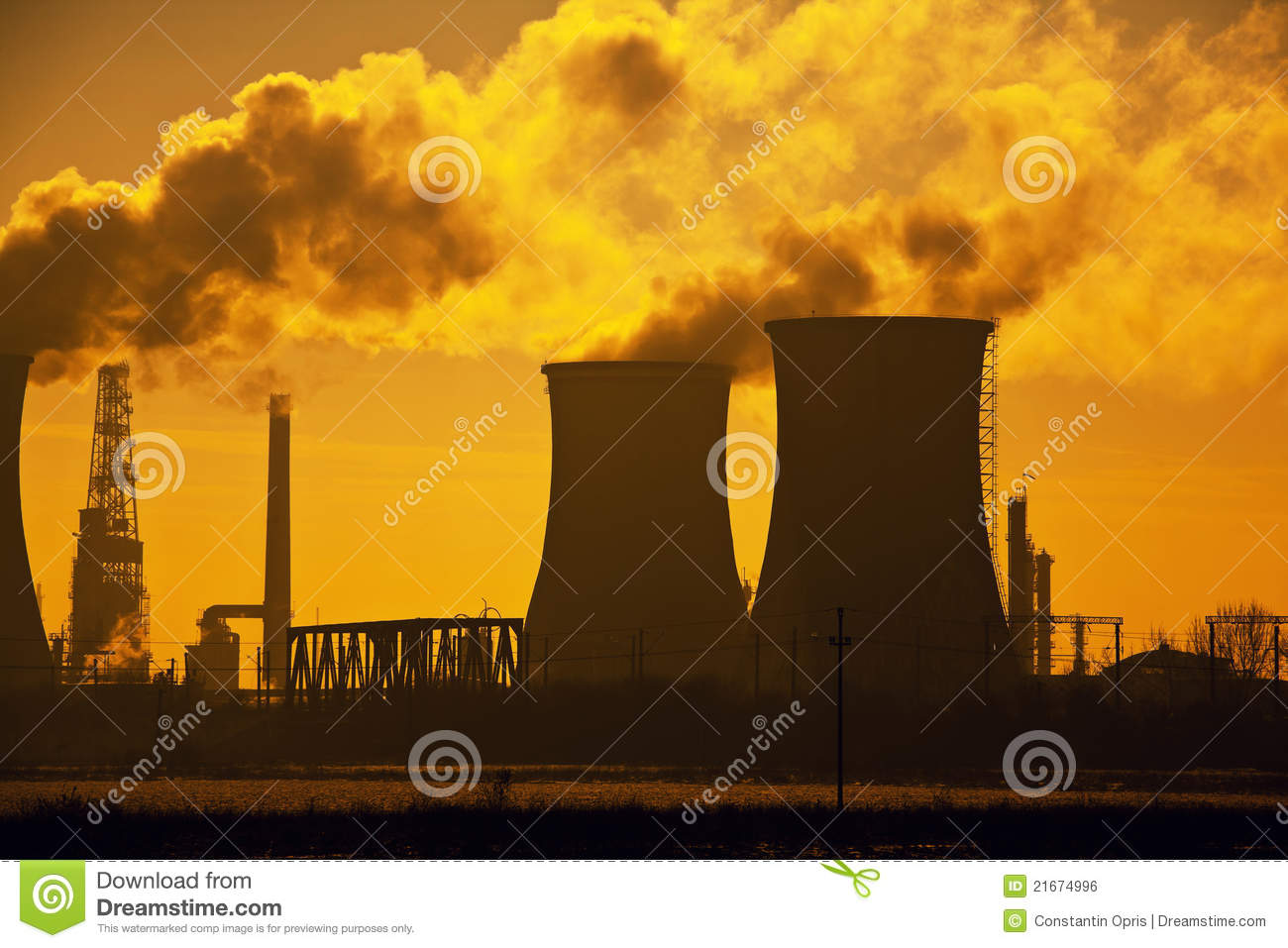 Oil refinery pollution, evacuation towers with smoke, dramatic sky.