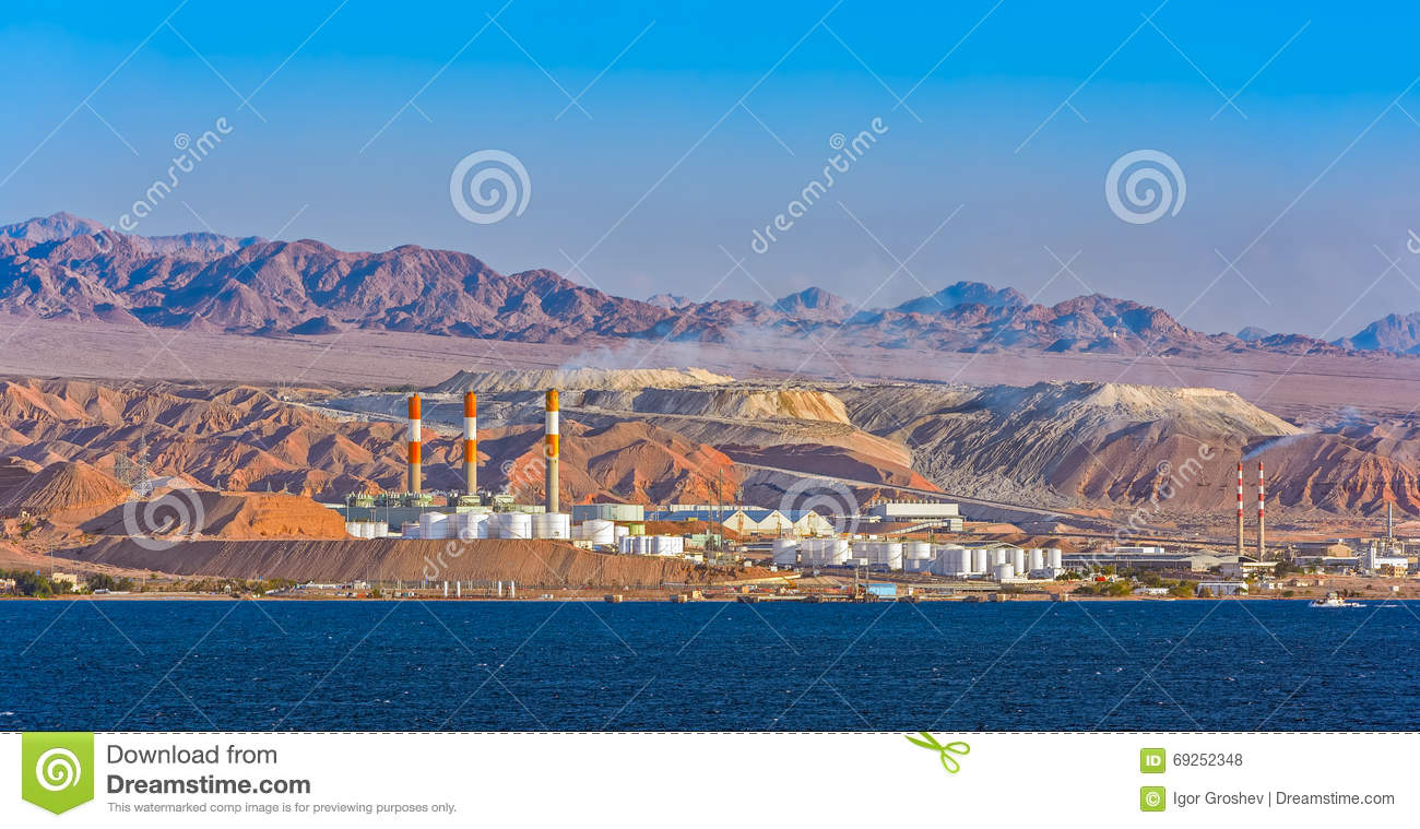 Oil Refinery On Red Sea Rocky Coast Stock Photo - Image of
