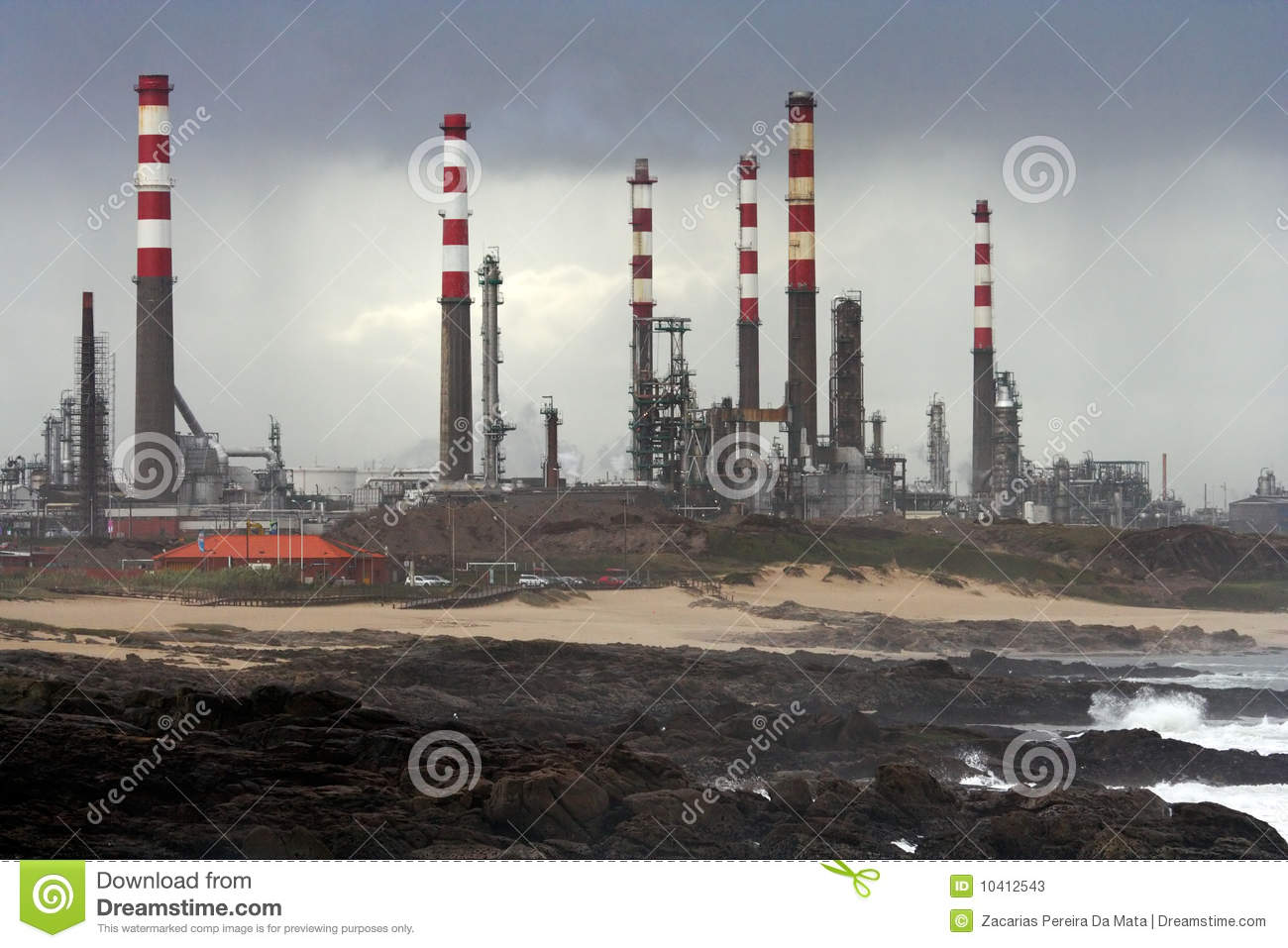 Oil Refinery By The Sea Stock Photos - Image: 10412543
