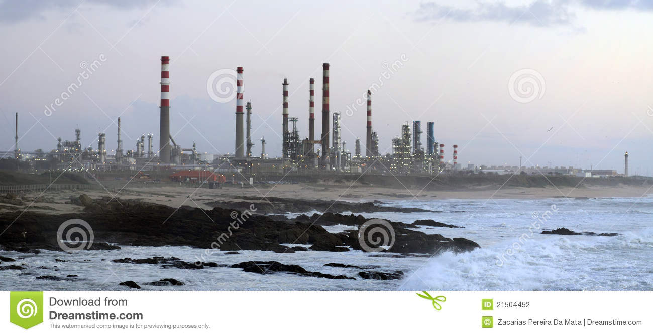 Oil Refinery By The Sea Stock Photography - Image: 21504452