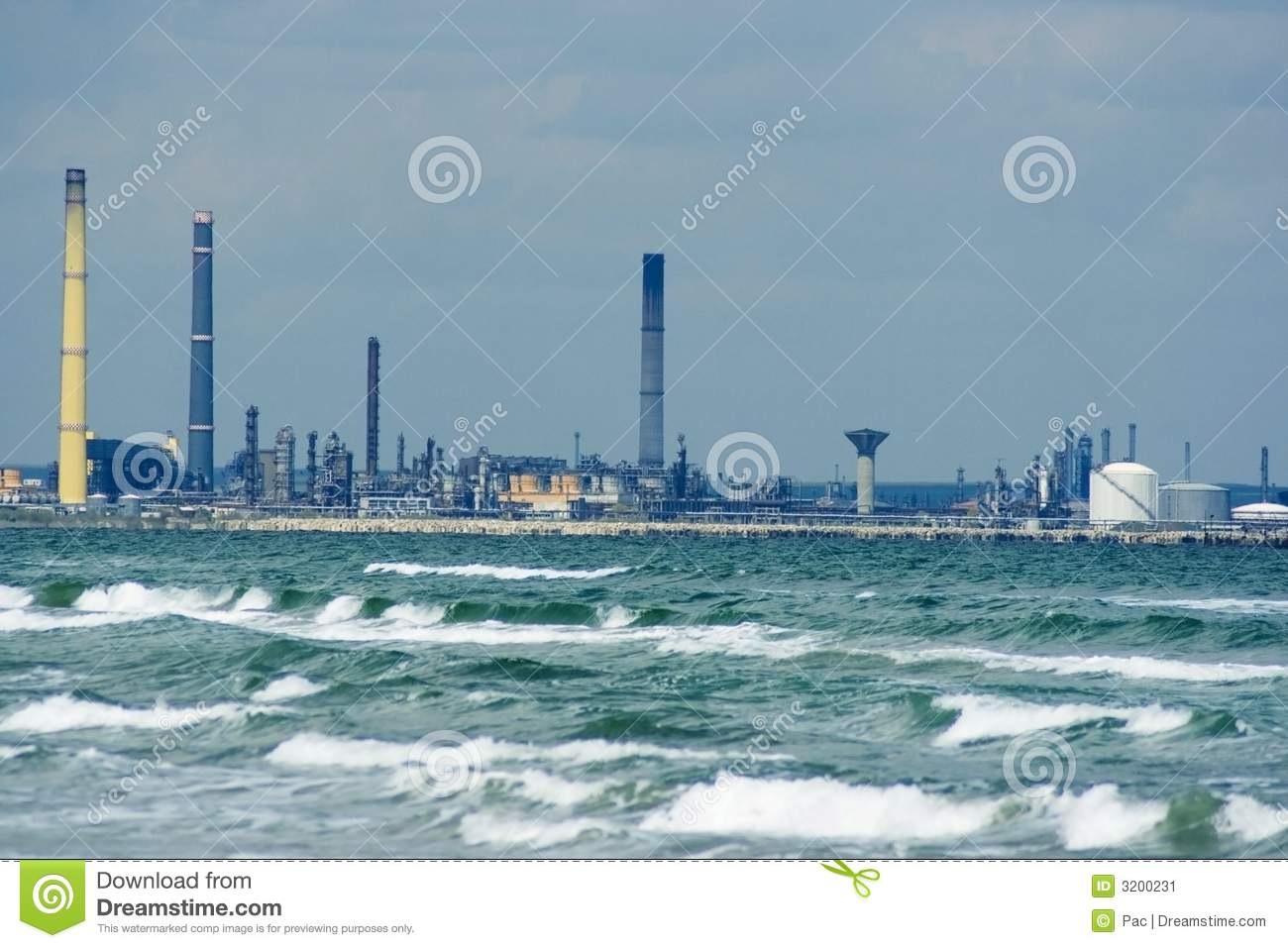 Oil Refinery At Sea Stock Image - Image: 3200231