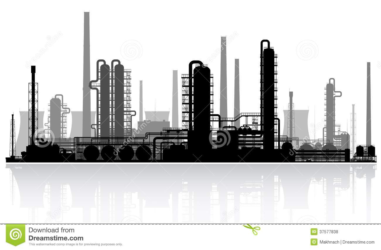 Oil Refinery Silhouette. Vector Illustration. Royalty Free ...