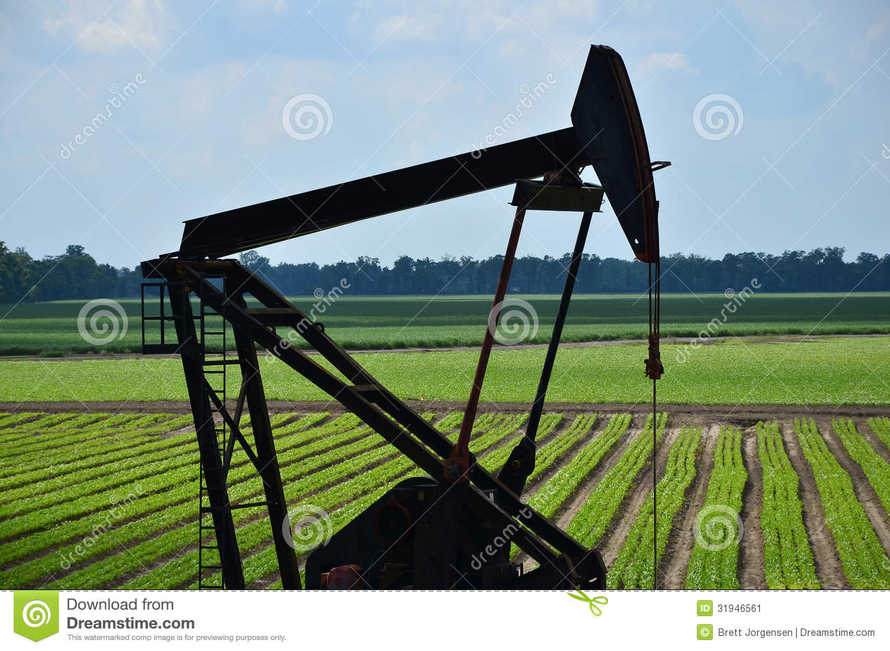Oil Rig In Green Field Stock Image. Image Of Equipment
