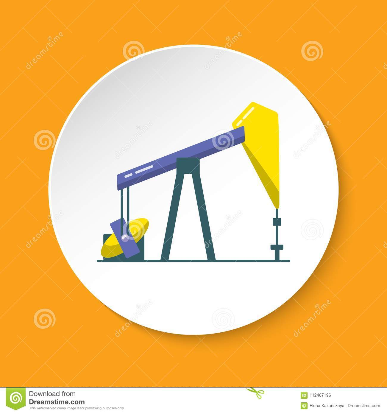 Oil rig icon in flat style on round button