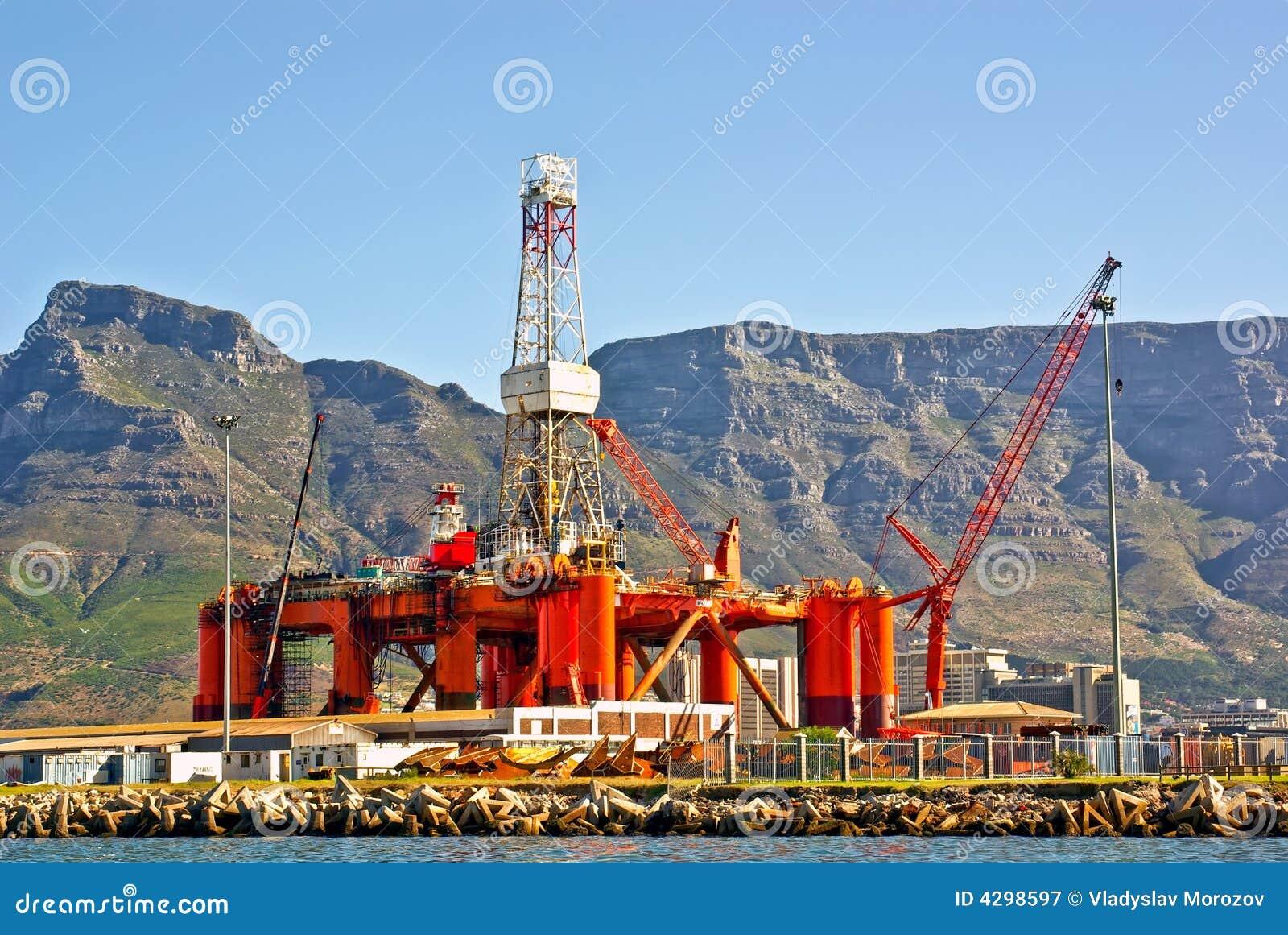Oil rig in the ocean bay