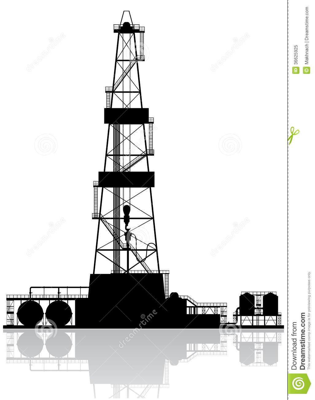 Oil rig silhouette. Detailed vector illustration isolated on white ... Eagle Silhouette Vector